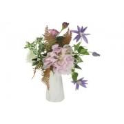 Декоративные цветы Букет клематисы сиреневые и гортензии в керамической вазе