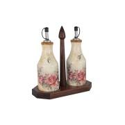 Набор из 2-х бутылок для масла и уксуса на деревянной подставке Элианто,0,275мл