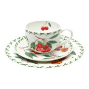 Набор: чашка, блюдце, тарелка Вишня в подарочной упаковке
