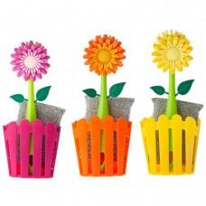 Щетка для посуды Vigar Dolls, цвет: зеленый,оранжевый,фуксия